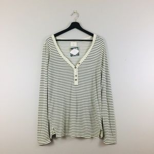 Anthropologie | Striped Button Knit Top